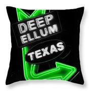 Deep Ellum In Green Throw Pillow