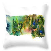 Deep Forest Song Throw Pillow