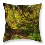 Deep Into The Hoh Rain Forest Throw Pillow