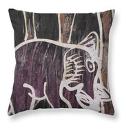 Deep Purple Elephant Painting In The Forest. Throw Pillow