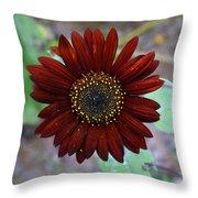 Deep Red Sunflower Throw Pillow