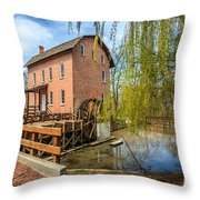 Deep River County Park Grist Mill Throw Pillow by Paul Velgos