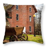 Deep River Wood's Grist Mill And Wagon Throw Pillow by Paul Velgos