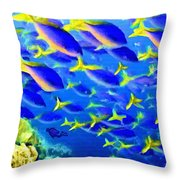 Deep Sea Fish And Diver Throw Pillow