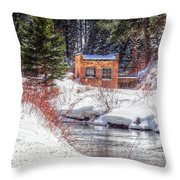 Deep Snow In Spearfish Canyon Throw Pillow