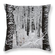 Deep Snow In The Forest Throw Pillow
