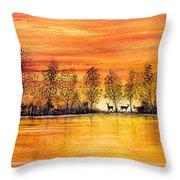 Deer At Sunset Throw Pillow