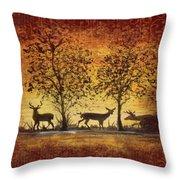 Deer At Sunset On Damask Throw Pillow