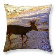 Deer Crossing Throw Pillow