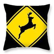 Deer Crossing Sign Throw Pillow