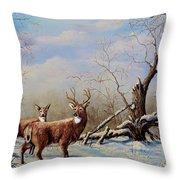 Deer In Crete Throw Pillow
