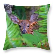 Fawn In The Ferns Throw Pillow