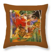 Deer In The Forest 1913 Throw Pillow