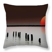Deer Island Sunset Throw Pillow