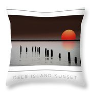 Deer Island Sunset Poster Throw Pillow