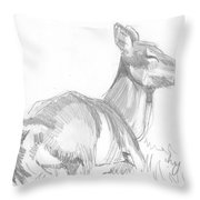 Deer Lying Down Drawing Throw Pillow