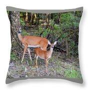 Deer Mom 2 Throw Pillow