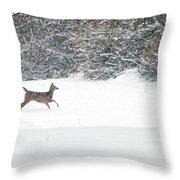 Deer Running Throw Pillow