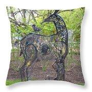 Deer Sculpture Throw Pillow