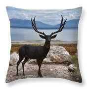 Deer Statute On Antelope Island  Throw Pillow
