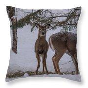 Deer With A Leg Up Throw Pillow