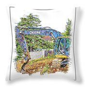Deere For Hire2 - Excavator - Digger Throw Pillow
