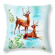 Deers Break Throw Pillow