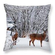 Deers In Winter Throw Pillow