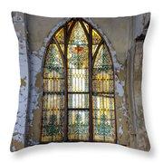 Defiant Stain Glass Church Window #1 Throw Pillow