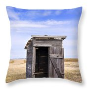 Defunct Outhouse At Rural Elementary School Throw Pillow