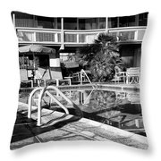 Del Marcos Pool Bw Palm Springs Throw Pillow