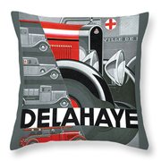 Delahaye Cars - Vintage Poster Throw Pillow