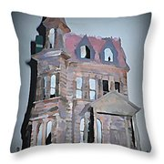 Delapitated Victorian Mansion Throw Pillow
