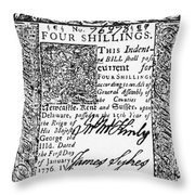 Delaware Banknote, 1776 Throw Pillow