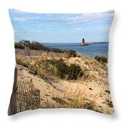 Delaware Breakwater East End Light Throw Pillow
