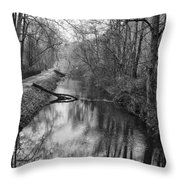 Delaware Canal In Black And White Throw Pillow