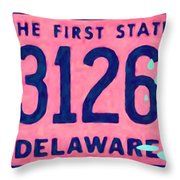 Delaware License Plate Throw Pillow