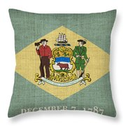 Delaware State Flag Throw Pillow by Pixel Chimp