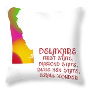 Delaware State Map Collection 2 Throw Pillow