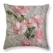 Delicate Pink Flowers Throw Pillow by Good Taste Art
