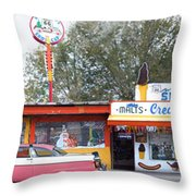Delgadillo's Snow Cap Drive-in On Route 66 Panoramic Throw Pillow