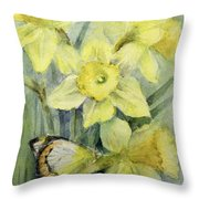Delias Mysis Union Jack Butterfly On Daffodils Throw Pillow
