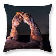 Delicate Arch At Night Against Beautiful Night Sky Throw Pillow