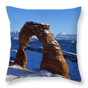Delicate Arch In Snow Arches National Park Utah Throw Pillow