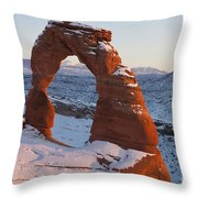 Delicate Arch With Snow Arches National Park Utah Throw Pillow