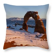 Delicate Arch With Snow At Sunset Arches National Park Utah Throw Pillow