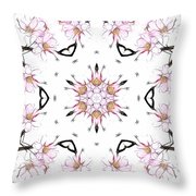 Delicate Cherry Blossom Fractal Kaleidoscope Throw Pillow
