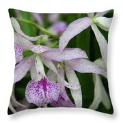 Delicate Orchid Blossoms Throw Pillow