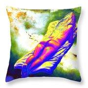 Delicious Babe Engulfed In Books Throw Pillow