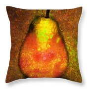 Delicious Pear Abstract Expressionism Throw Pillow
